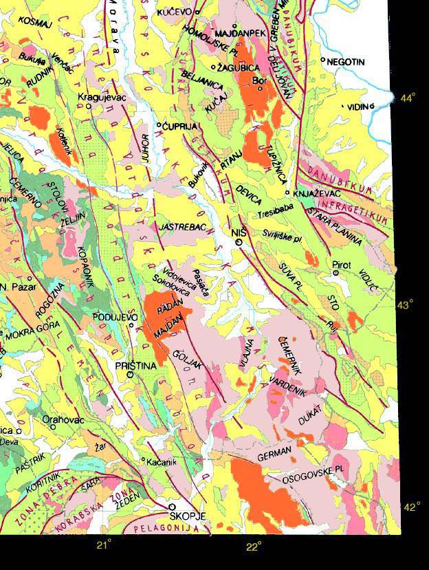 geoloska karta srbije Srbija   Geoloska karta (jugoistocni kvadrant) geoloska karta srbije